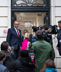 © Licensed to London News Pictures. 08/01/2018. London, UK. New Deputy Chairman of the Conservative Party JAMES CLEVERLY (top left) speaking to media as he and other new cabinet members arrive at Conservative Party Headquarters in Westminster, London following a cabinet reshuffle by Prime Minister THERESA MAY. A number of senior moves are expected ahead of a new phase in Brexit negotiations and following the recent loss of Damian Green as First Secretary of State. Photo credit: Ben Cawthra/LNP
