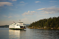 Ferry arriving in Friday Harbor San Juan Island Washington USA