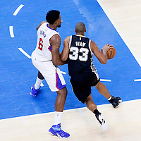 19 April 2014: San Antonio Spurs center Boris Diaw (33) drives past Los Angeles Clippers center DeAndre Jordan (6) during the Los Angeles Clippers 107-92 victory over the San Antonio Spurs, during Game One of the Western Conference Quarterfinals of the NBA Playoffs, at the Staples Center, Los Angeles, California, USA.