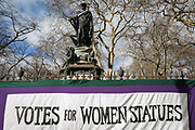 A suffragette-style sash has been draped by a womens group across the statue of Francis, Duke of Bedford on International Womens' Day, on 8th March 2018, in Russell Square, London, England. According to the group concerned about the poor representation of women commemorations, there are fewer than 3% of non-royal statues in the UK. Francis Russell, 5th Duke of Bedford (1765-1802) was an English aristocrat and Whig politician, responsible for much of the development of central Bloomsbury, London.