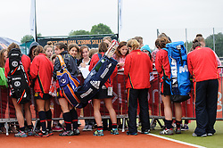 Spanish players signing autographs during the Investec Hockey World League Semi Final 2013, the Quintin Hogg Memorial Sports Ground, University of Westminster, London, UK on 27 June 2013. Photo: Simon Parker
