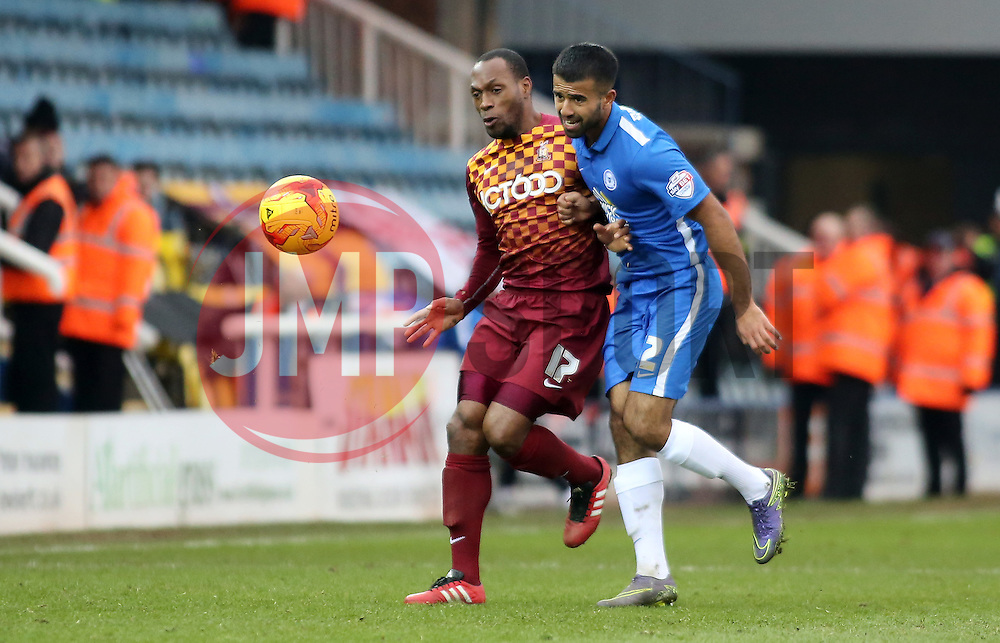 Bradford City's Kyel Reid battles with Adil Nabi of Peterborough United - Mandatory byline: Joe Dent/JMP - 13/02/2016 - FOOTBALL - ABAX Stadium - Peterborough, England - Peterborough United v Bradford City - Sky Bet Championship
