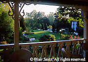 View from porch out into garden of the Riverside Inn and Hotel in the springtime, Cambridge Springs, Crawford Co., NW PA