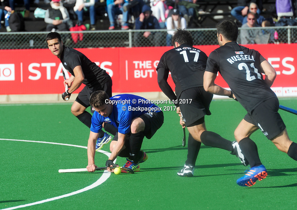 Shea McAleese of New Zealand lines up a shot from a penalty corner during 2017 Hockey World League Men Semi Final game between Spain and New Zealand at Wits Hockey Fields in Parktown on 17 July 2017 ©Aubrey Kgakatsi/BackpagePix / www.photosport.nz