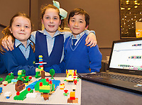 Freya Conway, Taitum Watson and Alex O'Healy First Class Scoil Caitriona NS Renmore with one of their projects at the Jnr Lego League organized through schools by the Galway Education Centre at The Radisson blu hotel<br />  Photo: Andrew Downes,  xposure