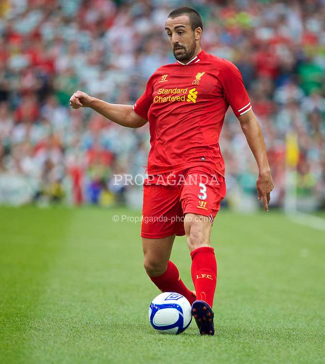 DUBLIN, REPUBLIC OF IRELAND - Saturday, August 10, 2013: Liverpool's Jose Enrique in action against Glasgow Celtic during a preseason friendly match at the Aviva Stadium. (Pic by David Rawcliffe/Propaganda)