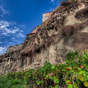 Near El Morro and around the wall of Old San Juan near the Atlantic Ocean.
