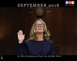 September 27, 2018 - Washington, DC, U.S. - CHRISTINE BLASEY FORD is sworn in before testifying the Senate Judiciary Committee in the Dirksen Senate Office Building on Capitol Hill. A professor at Palo Alto University and a research psychologist at the Stanford University School of Medicine, Ford has accused Supreme Court nominee Judge Brett Kavanaugh of sexually assaulting her during a party in 1982 when they were high school students in suburban Maryland. (Credit Image: