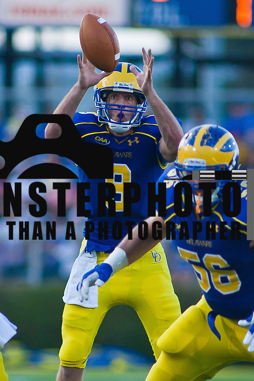 Delaware Back up Quarterback Tim Donnelly #9 takes the hight snap in the pocket during a Week 2 NCAA football game against Westchester in the second quarter. ..#8 Delaware defeated Westchester 28-17  in their home opener at Delaware Stadium Saturday Sept. 10, 2011 in Newark DE...Delaware will return home Sept. 17, 2011 for a showdown with interstate Rival Delaware State at 6:pm at Delaware Stadium. (Monsterphoto/Saquan Stimpson)