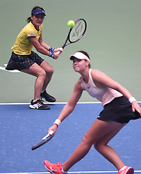 WUHAN, Sept. 28, 2018  Shuko Aoyama (L) of Japan and Lidziya Marozava of Belarus compete during the doubles semifinal match against Elise Mertens of Belgium and Demi Schuurs of the Netherlands at the 2018 WTA Wuhan Open tennis tournament in Wuhan, central China's Hubei Province, on Sept. 28, 2018. Elise Mertens and Demi Schuurs won 2-1. (Credit Image: © Xiao Yijiu/Xinhua via ZUMA Wire)