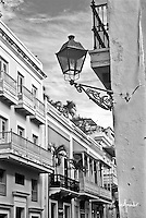 Street lamp and colonial buildings