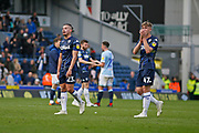 Disappointed Leeds United midfielder Kalvin Phillips (23) and Leeds United forward Jack Clarke (47)  applaud the fans at full time during the EFL Sky Bet Championship match between Blackburn Rovers and Leeds United at Ewood Park, Blackburn, England on 20 October 2018.