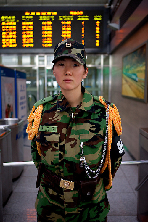 Female soldier of the South Korean Army at Dorasan station the Last South Korean Railway Station close to the DMZ and North Korea, Dorosan, South Korea, Republic of Korea, KOR, 15 February 2010.