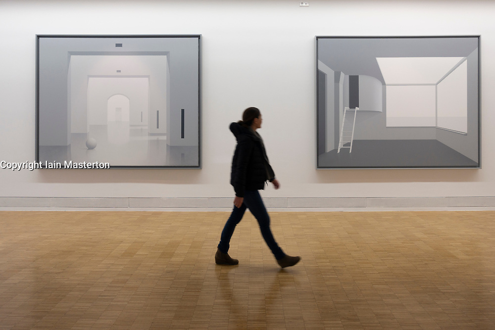 paintings by Ben Willikens at Light Box modern art museum at Bomann Museum in Celle, lower Saxony, Germany