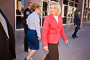 14 FEBRUARY 2011 - PHOENIX, AZ:  Arizona Governor JAN BREWER walks back to her office after speaking at Statehood Day observances at the State Capitol in Phoenix Monday. Arizona became the 48th state in the United States on Feb. 14, 1912. Gov. Brewer announced that the state is planning a series of centennial events leading up to Feb 14, 2012 for the coming year during her speech at the state capitol Monday morning.    Photo by Jack Kurtz
