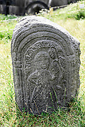 Tombstone in the cemetery, Haghpat Monastery, UNESCO World Cultural Heritage Site,  Lori Province, Armenia
