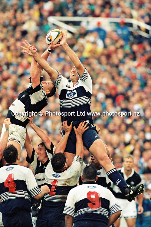 Jason Chandler in the line out.<br /> Super 12 Rugby final between the Auckland Blues and Natal Sharks at Eden Park, Auckland, New Zealand on 25 May 1996.<br /> The Blues won the final 45-21.<br /> Copyright photo: www.photosport.nz