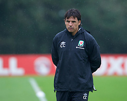 CARDIFF, WALES - Tuesday, October 9, 2012: Wales' manager Chris Coleman during a training session at the Vale of Glamorgan ahead of the 2014 FIFA World Cup Brazil Qualifying Group A match against Scotland. (Pic by David Rawcliffe/Propaganda)