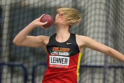 Windsor, Ontario ---2015-03-12--- Katelyn Lehner of  Calgary competes in the heptathlon shot put at the 2015 CIS Track and Field Championships in Windsor, Ontario, March 15, 2015.<br /> GEOFF ROBINS/ Mundo Sport Images