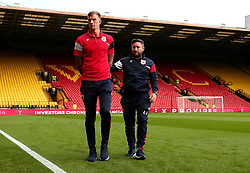Aden Flint of Bristol City and Bristol City head coach Lee Johnson arrive at Vicarage Road ahead of their side's Carabao Cup Match against Watford - Mandatory by-line: Robbie Stephenson/JMP - 22/08/2017 - FOOTBALL - Vicarage Road - Watford, England - Watford v Bristol City - Carabao Cup