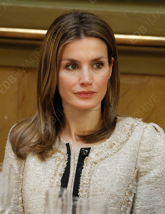 16.JULY.2012. MADRID<br /> <br /> PRINCE FILIPE OF SPAIN AND PRINCESS LETIZIA ATTEND 'LUIS CARANDELL' JOURNALISM AWARD CEREMONY AT SENADO PALACE, MADRID.<br /> <br /> BYLINE: EDBIMAGEARCHIVE.CO.UK<br /> <br /> *THIS IMAGE IS STRICTLY FOR UK NEWSPAPERS AND MAGAZINES ONLY*<br /> *FOR WORLD WIDE SALES AND WEB USE PLEASE CONTACT EDBIMAGEARCHIVE - 0208 954 5968*