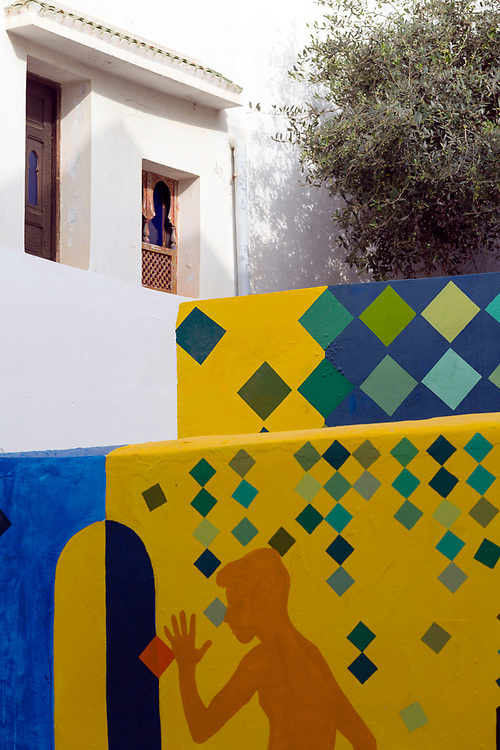 Street art murals painted on the walls and architecture inside the seaside town during the International Cultural Festival, Asilah, Northern Morocco, 2015-08-10. <br />