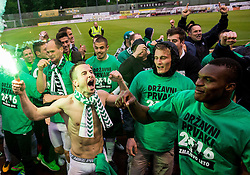 Matic Fink #17 of NK Olimpija Ljubljana, Blessing Chibuike Eleke #9 of NK Olimpija Ljubljana celebrate after winning during football match between NK Rudar and NK Olimpija Ljubljana in Round #35 of Prva liga Telekom Slovenije 2015/16, on May 14, 2016, in Stadium Ob jezeru, Velenje, Slovenia. NK Olimpija with this victory became Slovenian National Champion 2016. Photo by Vid Ponikvar / Sportida