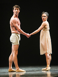 Pictured: Tobias Batley and Martha Leebolt,<br /> <br /> Dancers Tobias Batley and Martha Leebolt, who take the lead roles in 1984,  performed in full costume ahead of the premier of the ballet in the Festival Theatre, Edinburgh. 31 March 2016 tonight. The ballet runs until Saturday 2 April.<br /> <br /> Ger Harley | Edinburghelitemedia.co.uk