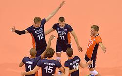 20150619 NED: World League Nederland - Portugal, Groningen<br /> De Nederlandse volleyballers hebben in de World League ook hun eerste duel met Portugal met 3-0 gewonnen / Vreugde bij Nederland met Kay van Dijk #12, Dick Kooy #11, Gijs Jorna #7, Nimir Abdelaziz #1, Thomas Koelewijn #15, Jeroen Rauwerdink #10
