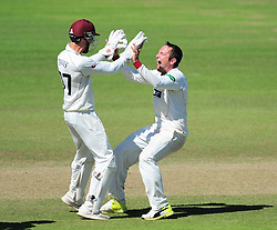 Roelof van der Merwe of Somerset and Ryan Davies celebrates victory.    - Mandatory by-line: Alex Davidson/JMP - 06/08/2016 - CRICKET - The Cooper Associates County Ground - Taunton, United Kingdom - Somerset v Durham - County Championship - Day 3