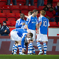 St Johnstone v Aberdeen.....30.01.13      SPL<br /> Gregory Tade celebrates his goal<br /> Picture by Graeme Hart.<br /> Copyright Perthshire Picture Agency<br /> Tel: 01738 623350  Mobile: 07990 594431