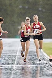 Hicks, Julia taking the baton from Robertson, Elysia competing in the women's distance medley relay at the 2007 OTFA Junior-Senior Championships in Ottawa.