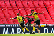 GOAL 2 - 0 Harrogate Town defender Connor Hall (20) celebrates after scoring during the Vanarama National League Promotion Final match between Harrogate Town and Notts County at Wembley Stadium, London, England on 2 August 2020.