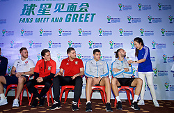 NANNING, CHINA - Saturday, March 24, 2018: Wales' Harry Wilson and Sam Vokes, Uruguay's Lucas Torreira and Maxi Gómez during a meet & greet event at the Nanning Wanda Mall during the 2018 Gree China Cup International Football Championship. (Pic by David Rawcliffe/Propaganda)