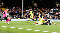 Football - 2018 / 2019 EFL Carabao Cup (League) Cup - Fulham vs. Exeter City<br /> <br /> Christy Pym (Exeter FC) makes a block to prevent Rui Fonte (Fulham FC) sliding in Fulhams third goal at Craven Cottage.<br /> <br /> COLORSPORT/DANIEL BEARHAM
