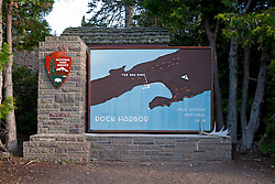 National Park Service welcome sign at Rock Harbor, Isle Royale National Park, Michigan, United States of America