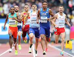 Great Britain's Guy Learmonth (centre left) qualifies during the 800m Men's heat six during day two of the 2017 IAAF World Championships at the London Stadium.