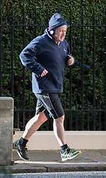 © Licensed to London News Pictures. 25/04/2017. London, UK. Foreign Secretary Boris Johnson returns from his morning run before attending cabinet in Downing Street.  Photo credit: Peter Macdiarmid/LNP
