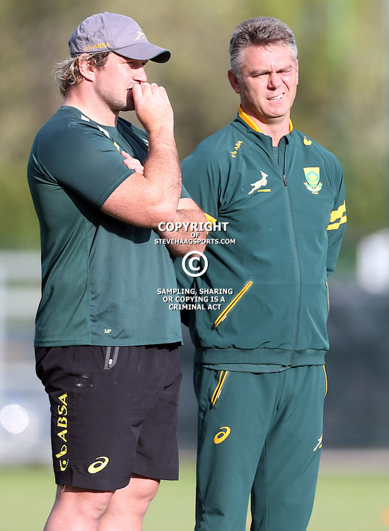PADUA, ITALY - NOVEMBER 18: Jannie du Plessis with Heyneke Meyer (Head Coach) of South Africa  during the South African national rugby team training session at Stadio Plebiscito on November 18, 2014 in Padua, Italy. (Photo by Steve Haag/Gallo Images)