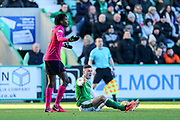 Anthony Stokes (#28) of Hibernian protests after being fouled by Dedryck Boyata (#20) of Celtic during the Ladbrokes Scottish Premiership match between Hibernian and Celtic at Easter Road, Edinburgh, Scotland on 10 December 2017. Photo by Craig Doyle.