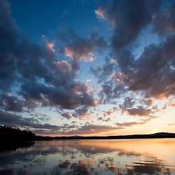 Sunset over Indian Pond, Kennebec River, near Greenville, Maine.