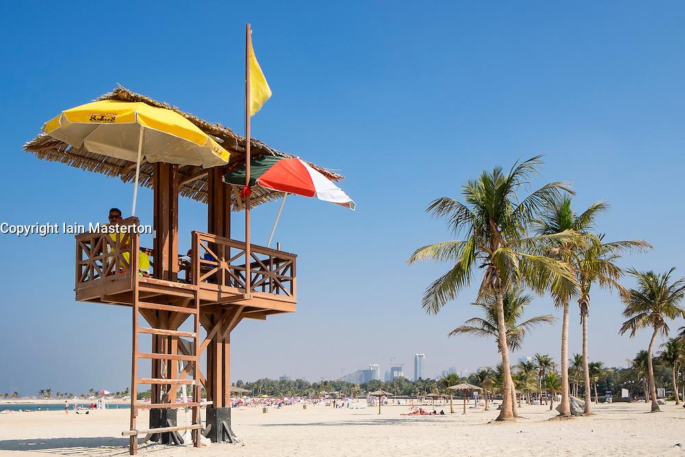 Lifeguard tower at Al Mamzar Beach Park in Sharjah United Arab Emirates