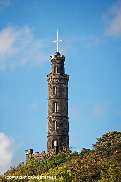 Nelson's Monument is a commemorative tower in honour of Vice Admiral Horatio Nelson, situated on top of Calton Hill, in Edinburgh, Scotland. It was built between 1807 and 1815 to commemorate Nelson's victory over the French and Spanish fleets at the Battle of Trafalgar in 1805, and his own death at the same battle. In 1853 a time ball was added, as a time signal to shipping in Leith harbour