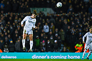 Leeds United midfielder Kalvin Phillips (23) heads the ball during the EFL Sky Bet Championship match between Leeds United and Hull City at Elland Road, Leeds, England on 10 December 2019.