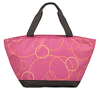 school lunch bag in hot pink and black