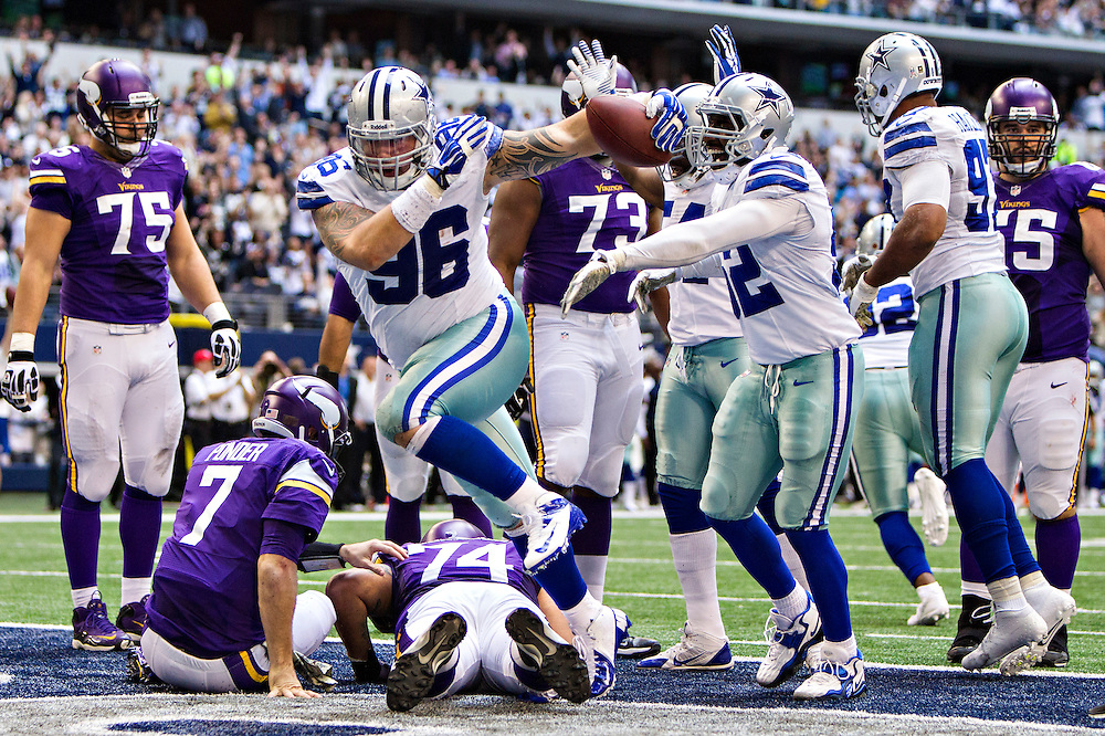 ARLINGTON, TX - NOVEMBER 3:  Nick Hayden #96 of the Dallas Cowboys celebrates after recovering a fumble in the end zone for a touchdown against the Minnesota Vikings at AT&T Stadium on November 3, 2013 in Arlington, Texas.  The Cowboys defeated the Vikings 27-23.  (Photo by Wesley Hitt/Getty Images) *** Local Caption *** Nick Hayden