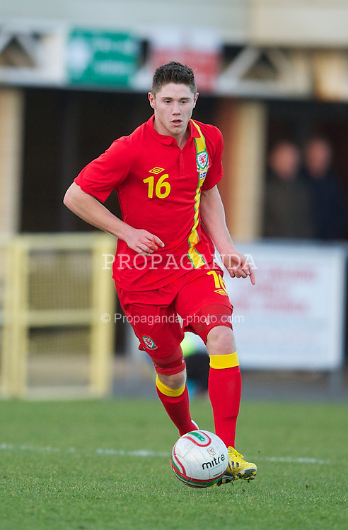 LLANELLI, WALES - Wednesday, February 6, 2013: Wales' Wes Burns in action against Iceland during an International Friendly Under-21 match at Stebonheath Park. (Pic by David Rawcliffe/Propaganda)