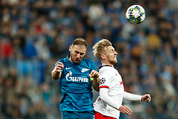 November 4, 2019, Saint Petersburg, USA: SAINT PETERSBURG, RUSSIA - NOVEMBER 05: defender Branislav Ivanovic of FC Zenit and forward Emil Forsberg of RB Leipzig in action during UEFA Champions League match FC Leipzig at FC Zenit on November 05, 2019, at Saint Petersburg Stadium in Saint Petersburg, Russia. (Photo by Anatoliy Medved/Icon Sportswire) (Credit Image: © Anatoliy Medved/Icon SMI via ZUMA Press)