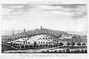 East View of Birmingham in Warwickshire'.  From 'The Modern Universal British Traveller'. (London, 1779). Copperplate engraving.