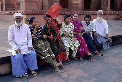 India, Uttar Pradesh, Fatehpur Sikri. Bearded Muslim men and their families (MR)